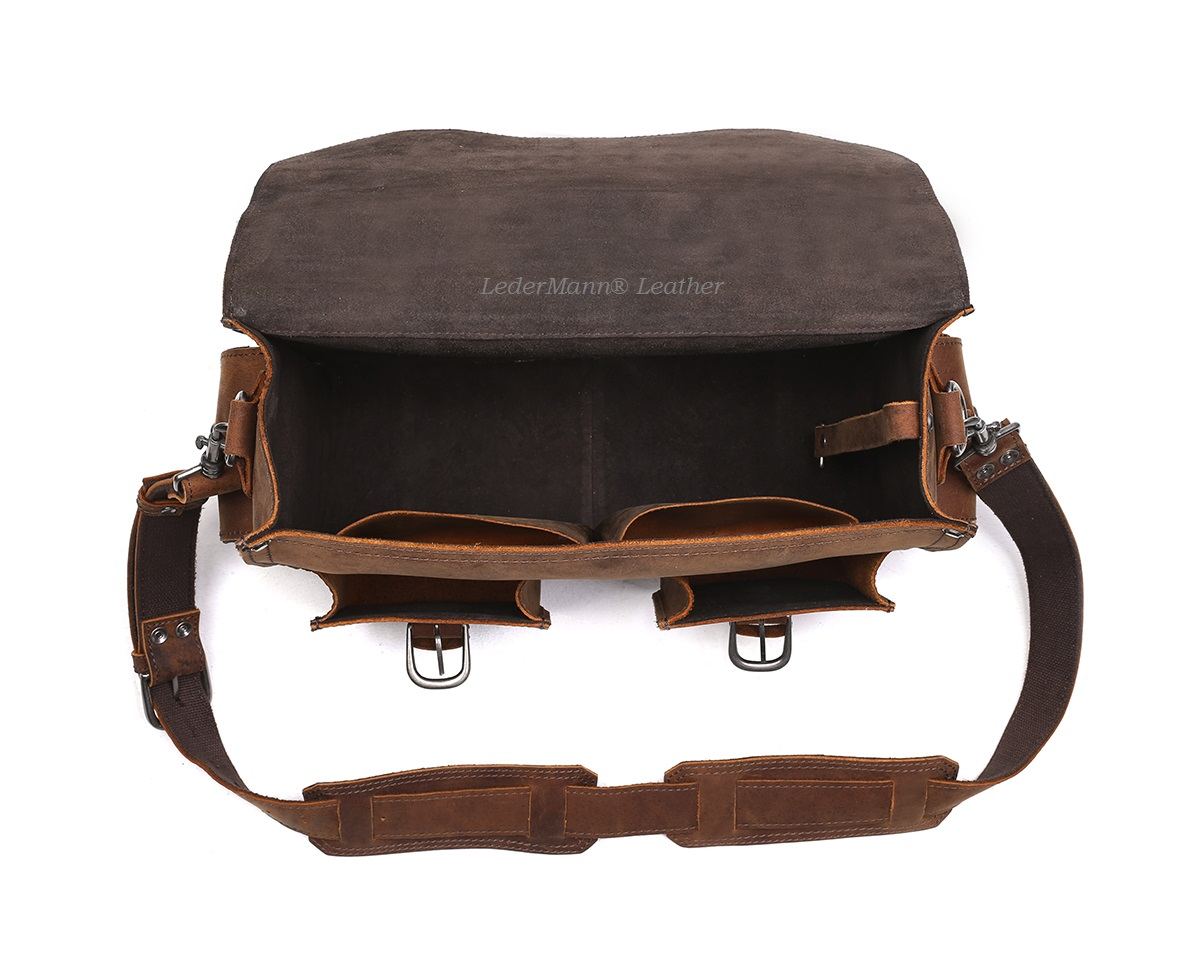 ... 16   Laptop Messenger Bag - Brown Vintage Style Leather Briefcase -  Thumbnail 3 f9aeb1c593903