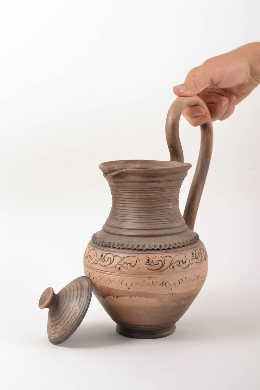 Unusual handmade large designer clay water jug