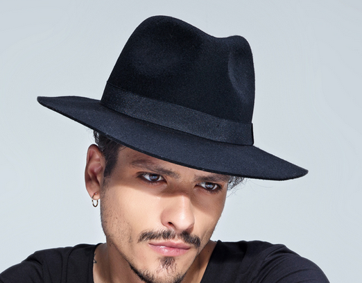 d9673837 Grey/ Black Men's wool Hat Winter Autumn Floppy Hat--mh015