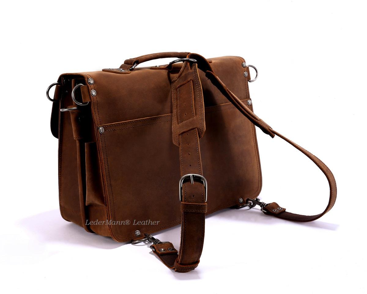 18 Laptop Messenger Bag Dark Tobacco Brown Vintage