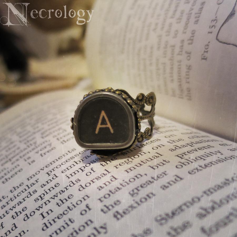 Antique Typewriter Key Ring, Monogram Ring A from Necrology