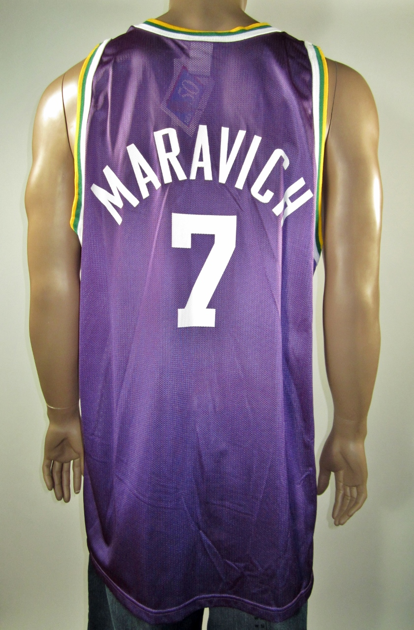 1f8be67e394 Pistol Pete Maravich New Orleans Jazz NBA 50 Gold Logo Champion Jersey 52  NWT - Thumbnail ...
