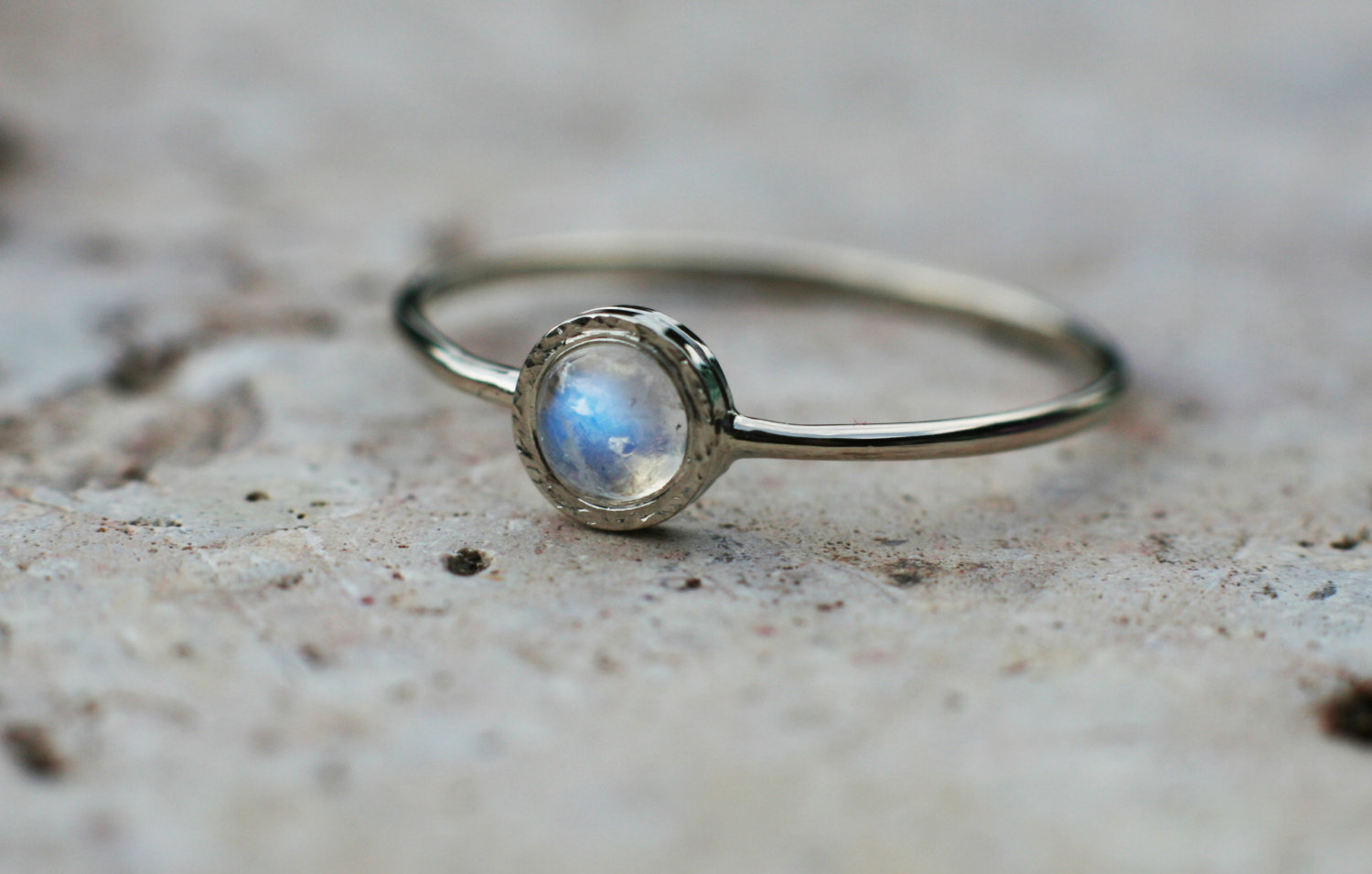 White Opal Diamond Engagement Ring