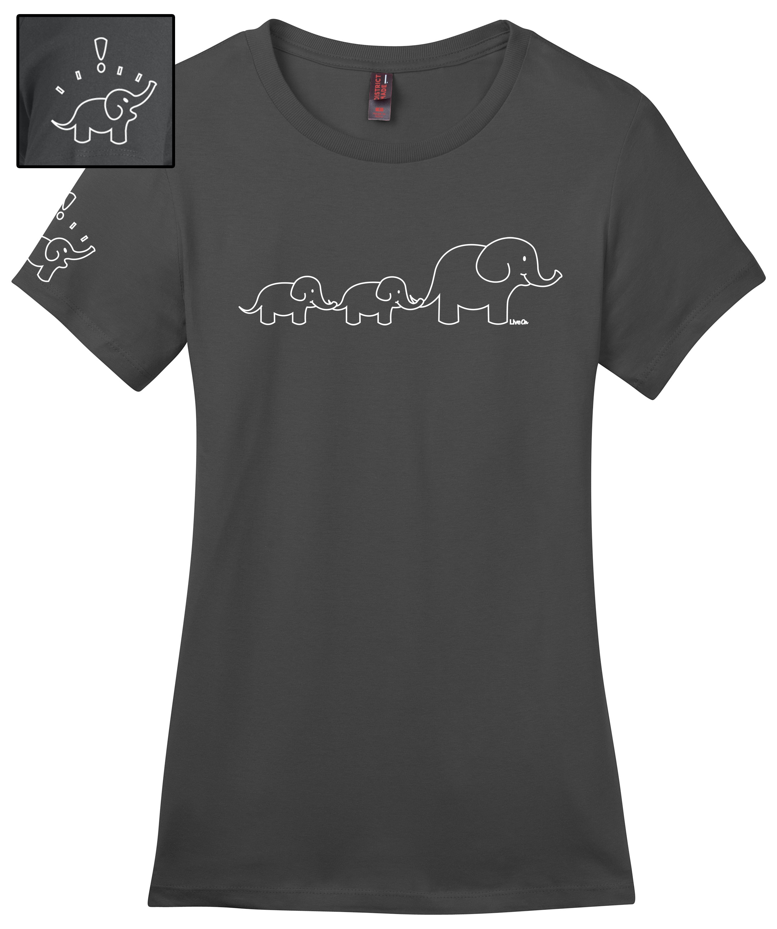 99027bc1d75558 Ladies Trailing Elephant Tee - Charcoal on Storenvy