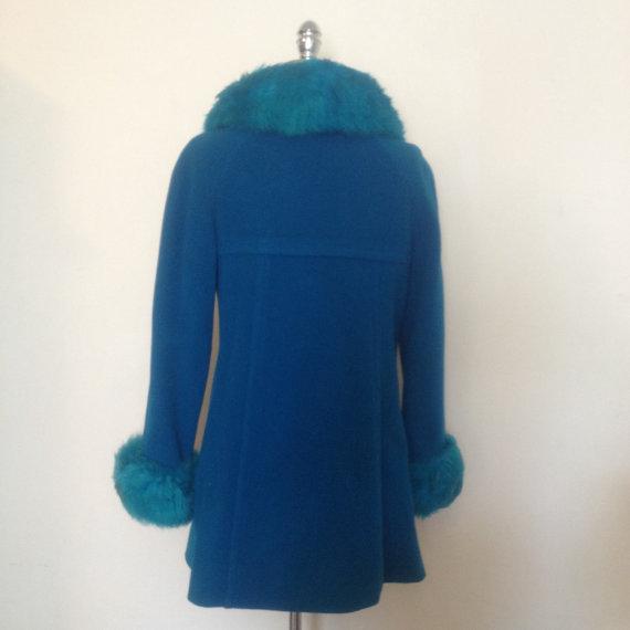 8597596e9c9b 1960s Vintage Women's Electric Blue Winter Jacket Faux Fur Trim Size ...