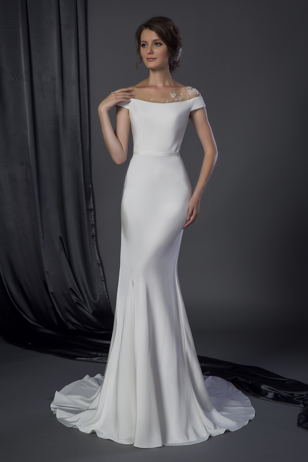 plus size silk crepe gown with shimmering floral leaf accents wedding dress