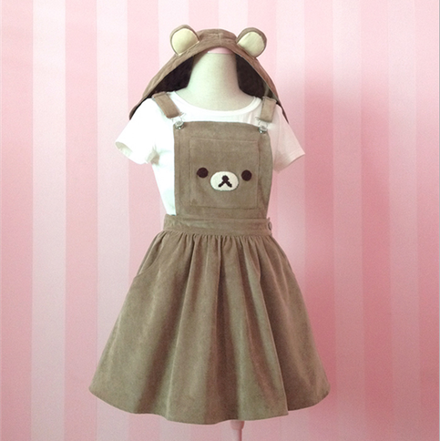 Brown Bear embroidery removable ear hats cute strap dress ...