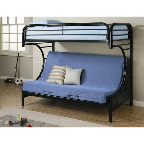 Black Metal Twin Over Full Futon Bunk Bed With Built In Ladder Sold By Flair For Your Lair On Storenvy