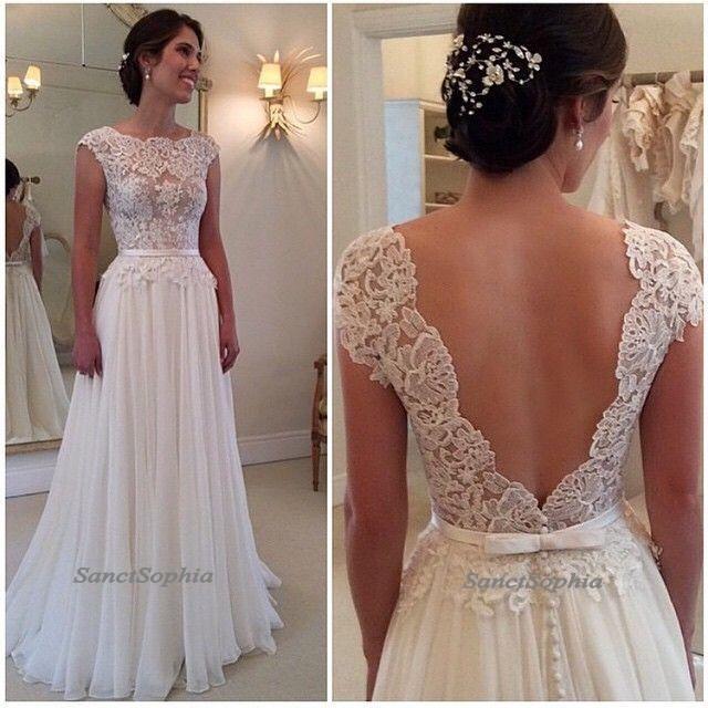 Elegant V Back Lace Wedding Dressescap Sleeves Lace Wedding Dresses