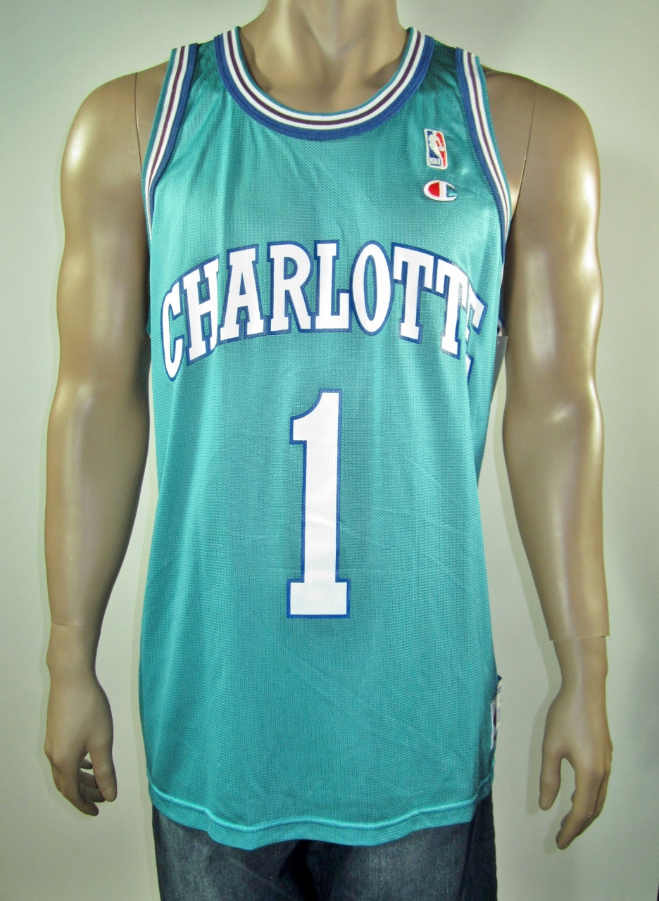 7f57ae3294a Muggsy Bogues Charlotte Hornets Champion Jersey 48 NWT on Storenvy