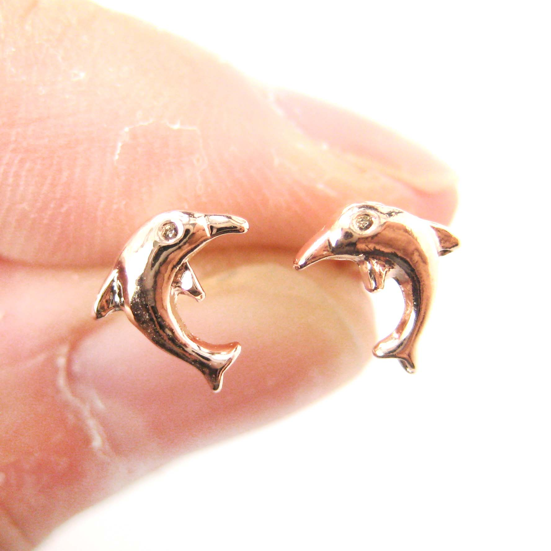 964caaae2 Dotoly Plus   Small Dolphin Fish Sea Animal Stud Earrings in Rose ...