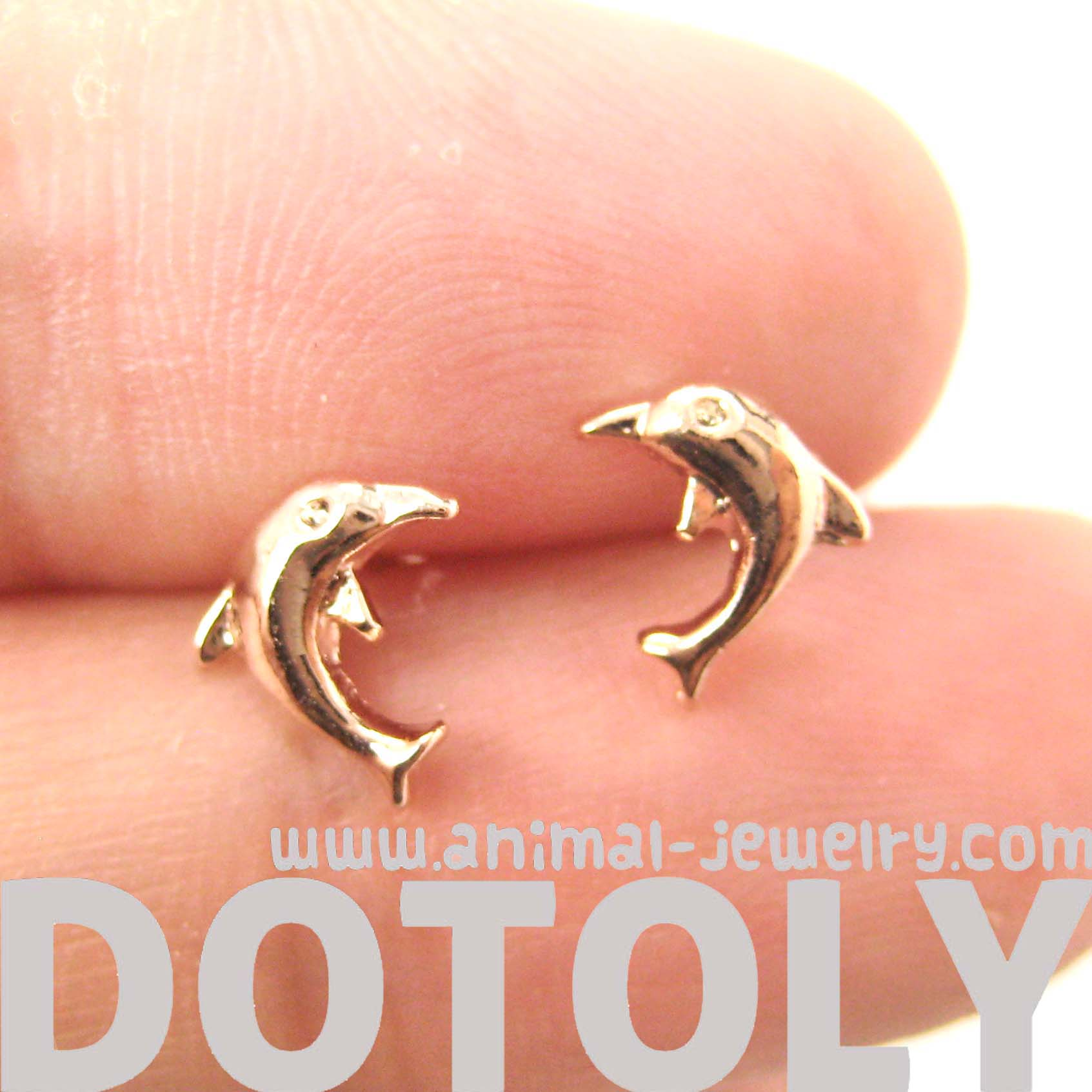 f54816036 Small Dolphin Fish Sea Animal Stud Earrings in Rose Gold - Thumbnail 1 ...