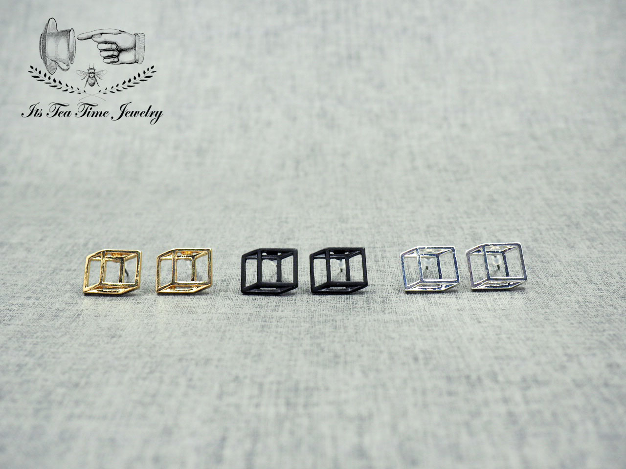 1365f5dcc ... Simple and chic Silver 3D Square cube stud earrings, geometric 3d  earring, dangle earrings