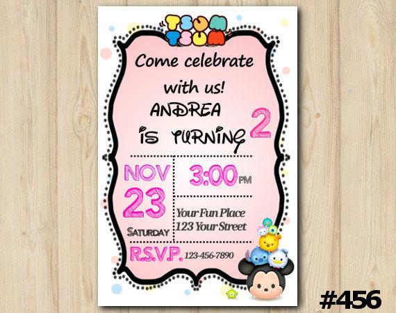 Tsum tsum invitation birthday party custom printable 456 on storenvy il fullxfull817973707 r66w original stopboris Image collections