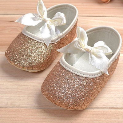 dd7c56a084d31 Gold Sparkly Glitter Baby Crib Shoes from NM Kids Boutique