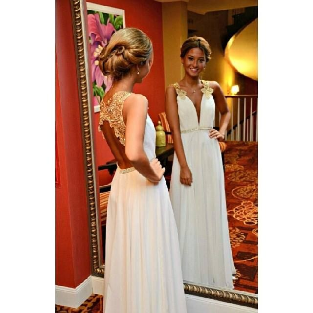New Arrival Gold Lace Ivory Wedding Dressbackless Long Prom Dress