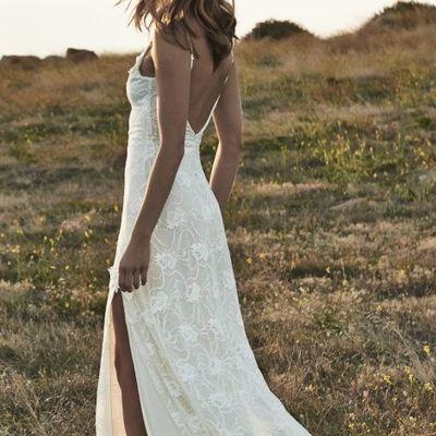 Linen Wedding Dress.Boho Backless Wedding Dresses Front Split Romantic Off Shoulder Ivory Lace Beach Wedding Dress Bling Brides Gown From Dresscomeon