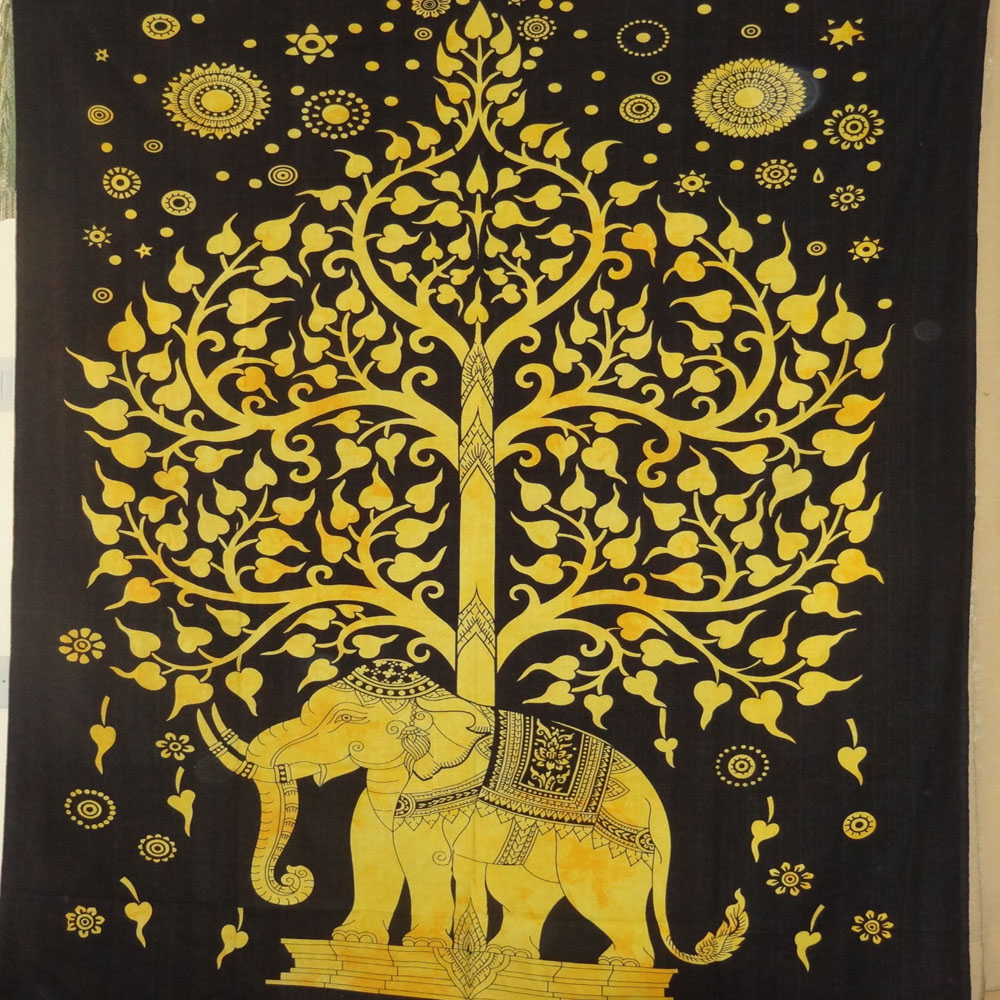 Elephant tree tapestry, tree of life, Indian tapestry, Mandala ...