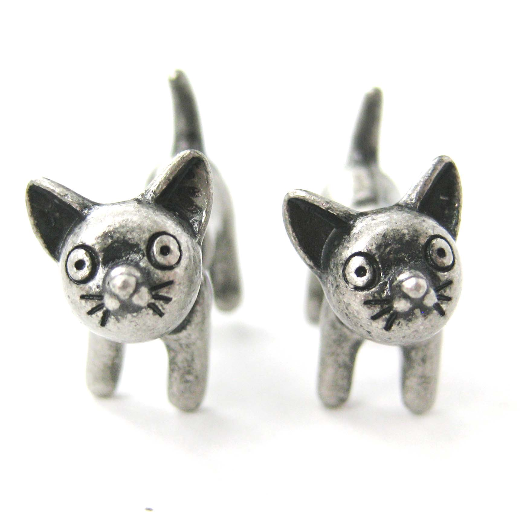 Adorable Kitty Cat Animal Stud Earrings In Silver Fake