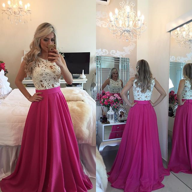 Top Selling Ivory Lace Hot Pink Prom Dresscheap Prom Dressessee