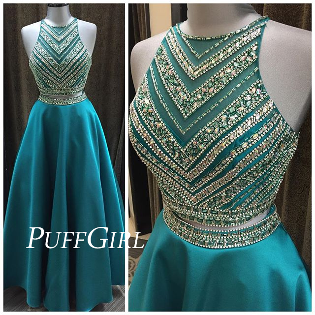 724953c2972 Teal Satin Sleeveless Two Piece Prom Dress With Beaded Crop Top ...