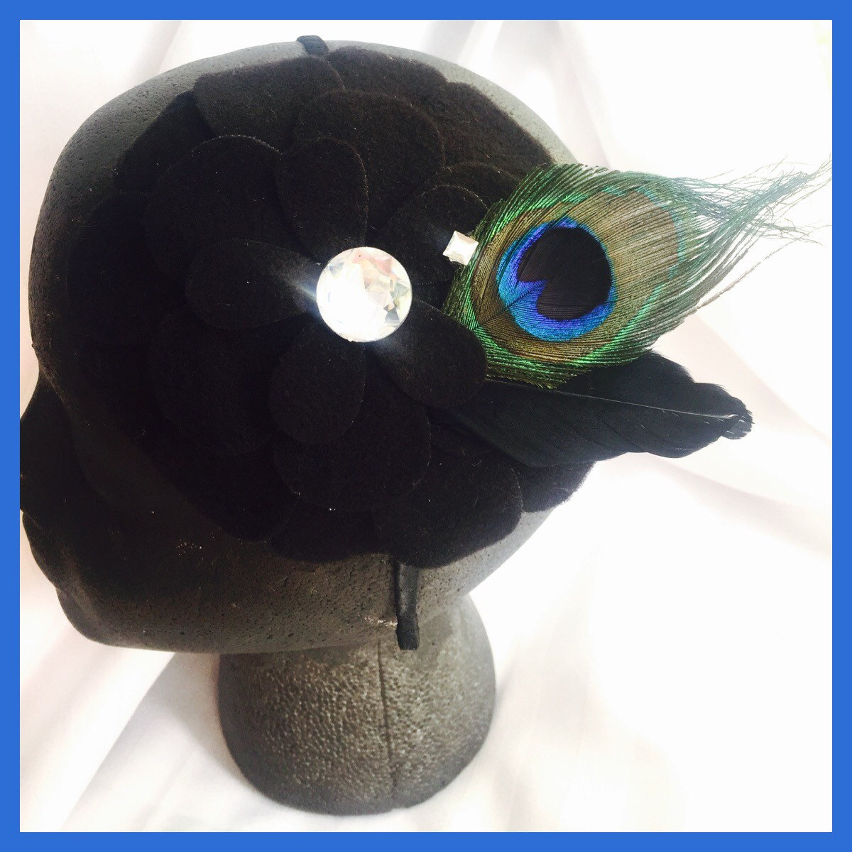 Black Felt Flower Peacock Feather Headband Fascinator Hair Disc Hat Crystal  Rhinestone Wedding Party bd593197337