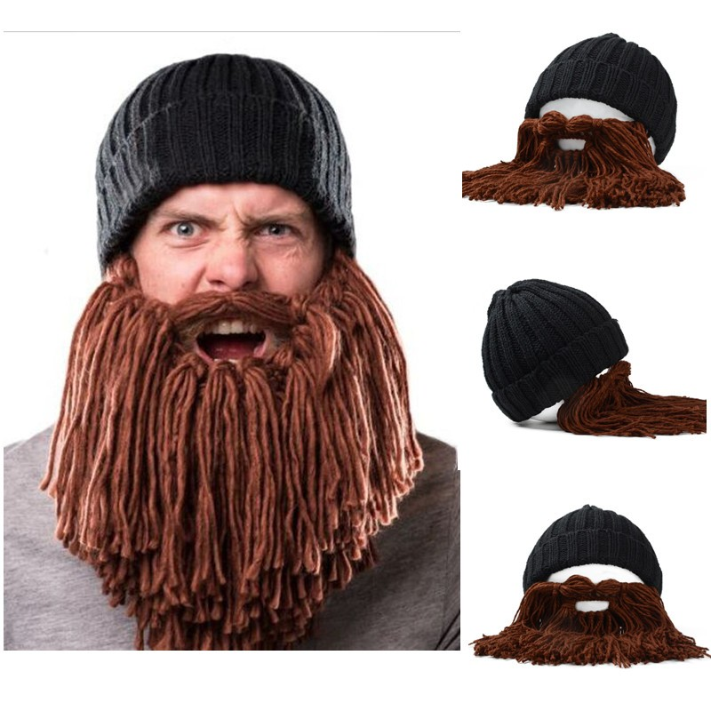 a95ddb9efd3 Unisex Men Women Beard Barbarian Looter Knit Crochet Beanie Cap Vagabond  Mustache Demountable Hat on Storenvy
