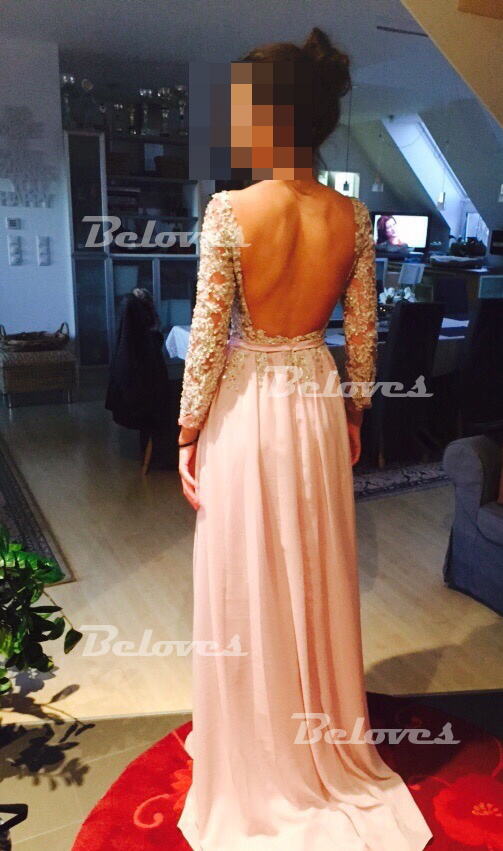 Champagne Chiffon Long Sleeves Prom Dress With Beaded Bodice And ...
