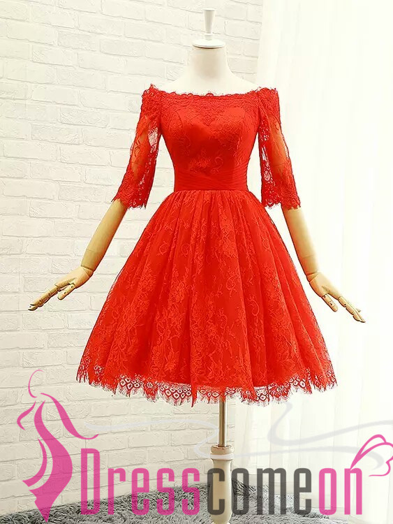 New Arrival Red Lace Homecoming Dresses Half Sleeves Short Prom ...