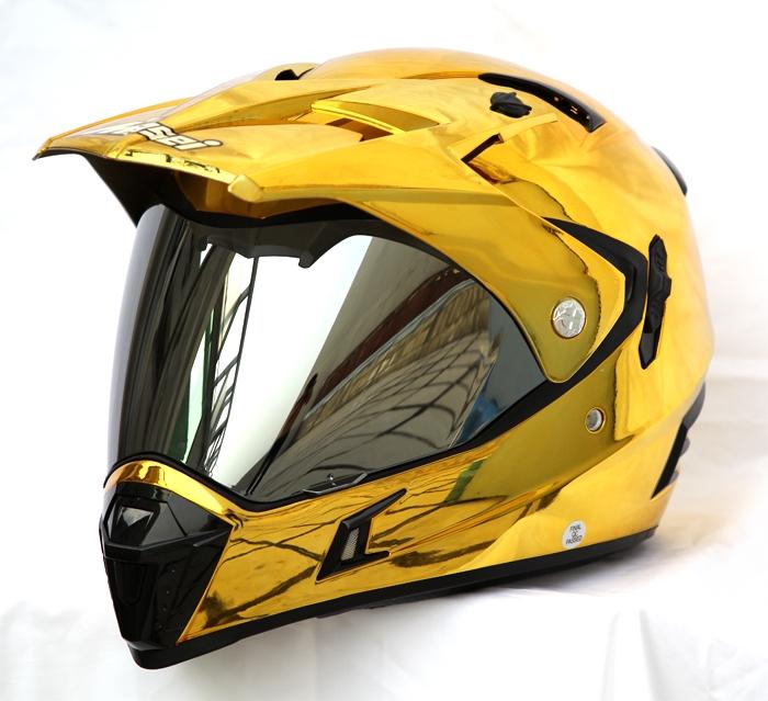 Dirt Bike Helmet With Visor >> Masei 311 Chrome Gold Dirt Bike Motorcycle Helmet on Storenvy
