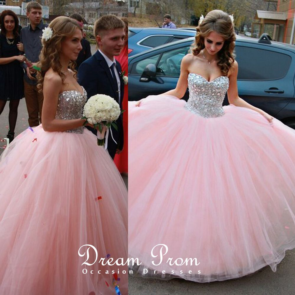 Pink Ball Gown Girls Sweet 16 ,Tulle Rhinestone Long Prom Dress ...