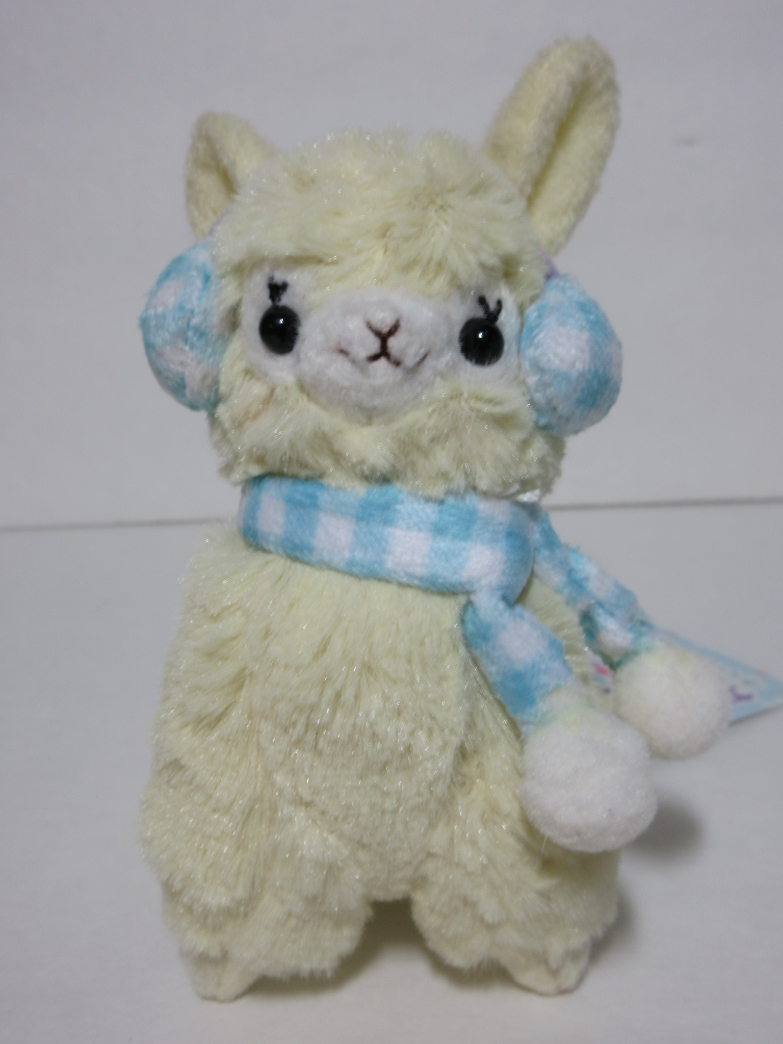"""Earmuff"" Alpacasso Yellow Alpaca w/ Light Blue Earmuffs ..."