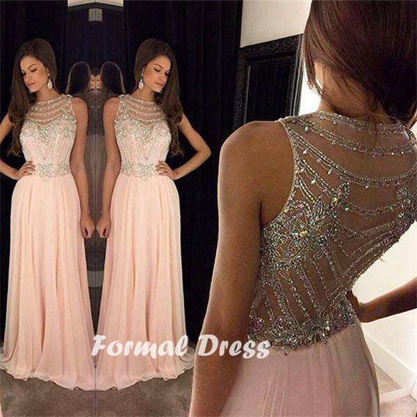 531c1f5a8018 Round neckline rhinestone beaded Chiffon Long Prom Dress