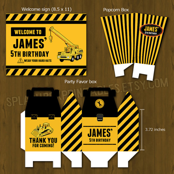 construction party printable birthday party decorations