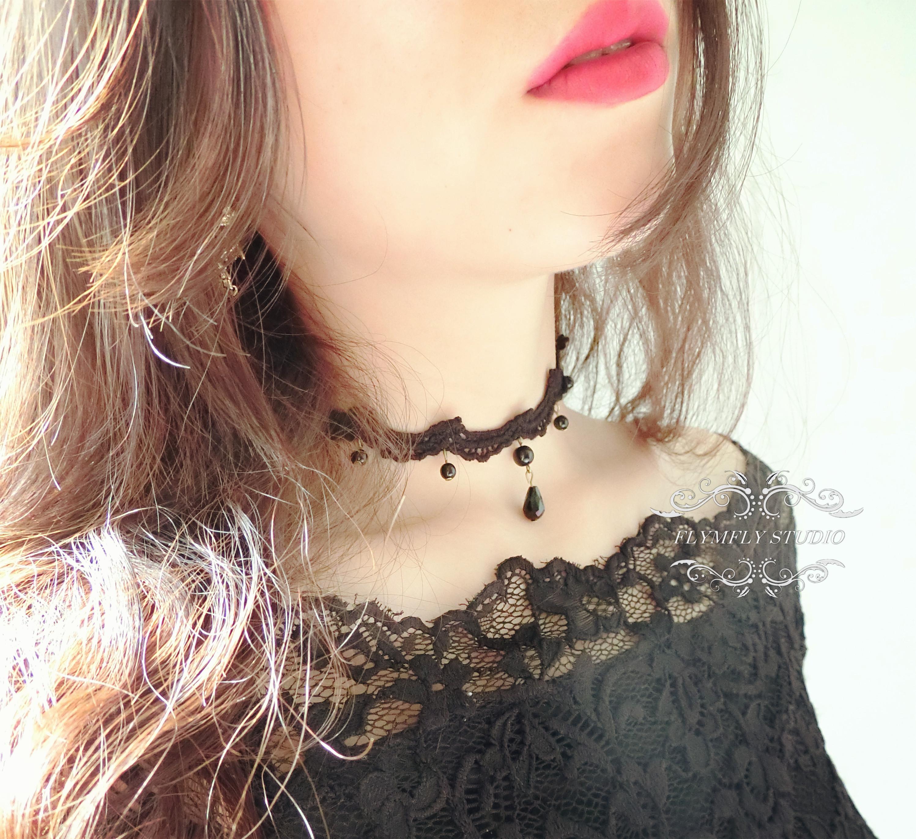 56c825578 handmade black Lace choker, black lace necklace, Gothic Vintage ...