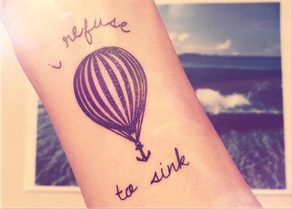 2pcs Hot air balloon I refuse to sink anchor tattoo ...
