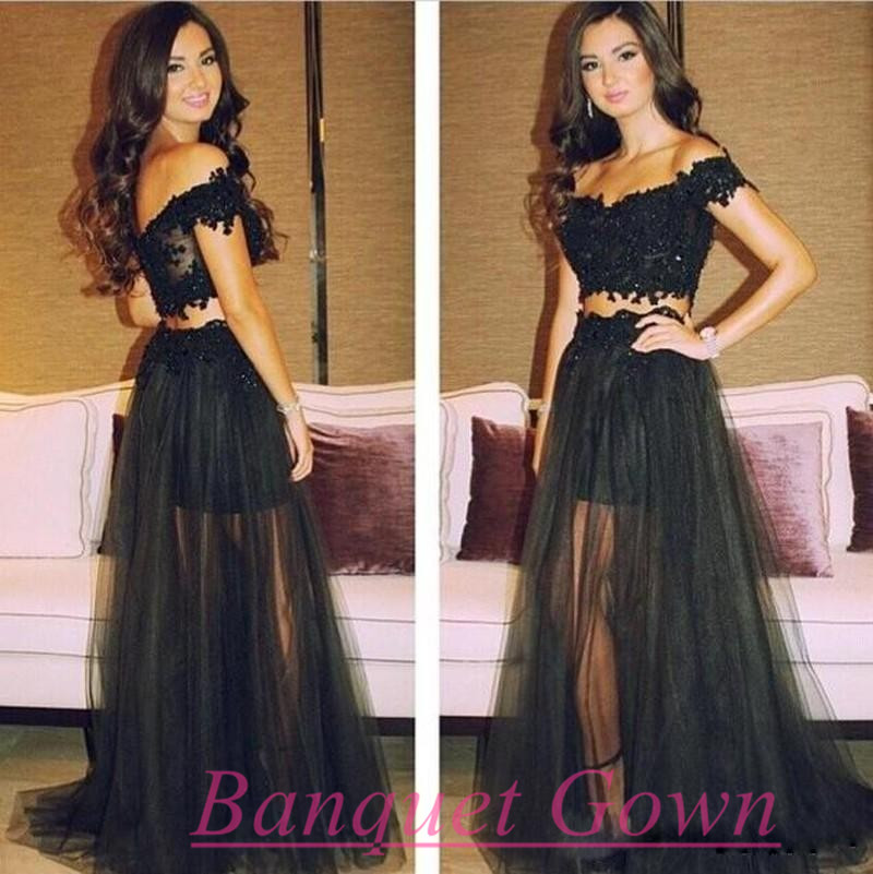 Sexy Lace 2 Two Pieces Long Prom Dress 2016 Sweetheart Black Puffy