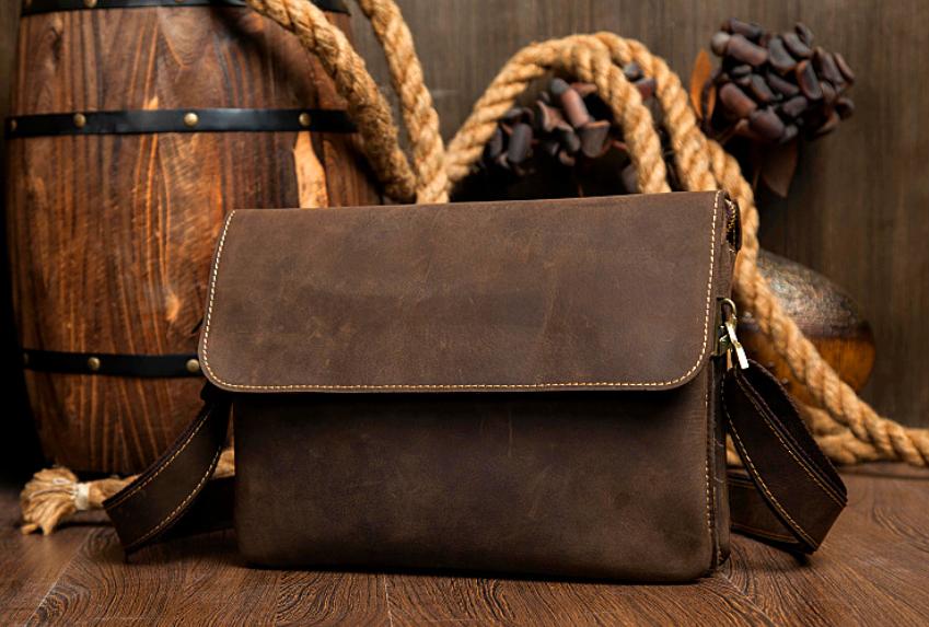 32fa260b613 Handmade Leather messenger bag, leather shoulder bag, leather briefcase  /IPAD bag (M103) from Senger Leather Bag