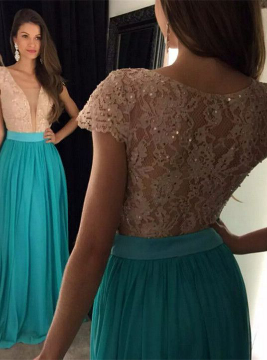 d2027095b89 Lace Bodice Chiffon Skirt V-neck Long Prom Dresses APD1681 ...