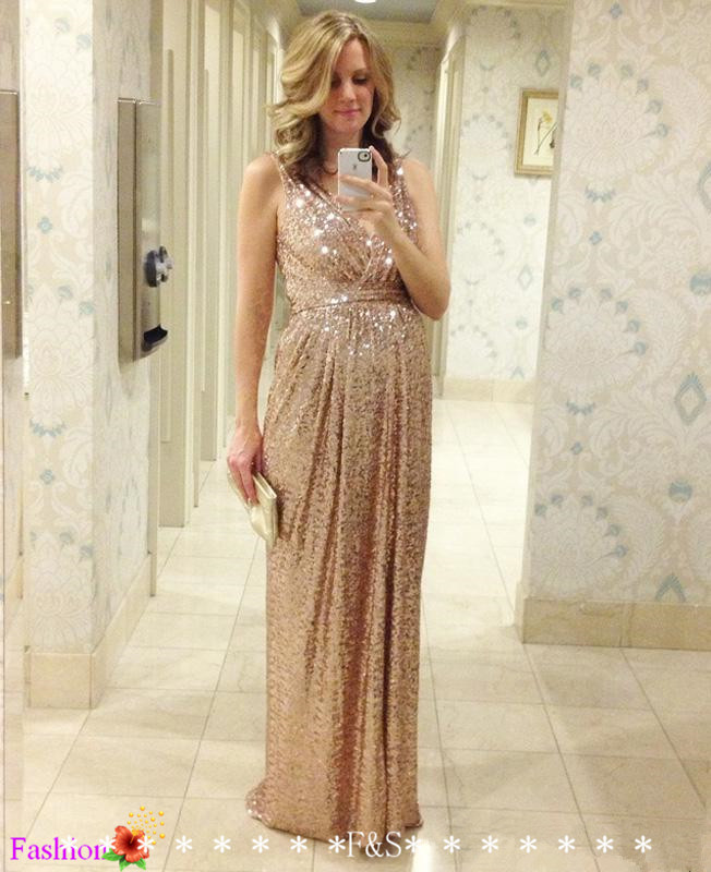 31e6dc5cb7c Sparkly Rose Gold Cheap 2015 Mermaid Bridesmaid Dresses 2016 Short Sleeve  Sequins Backless Long Beach Wedding