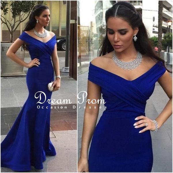 Royal blue prom dresses 2016,cap-sleeves prom dress,mermaid prom ...