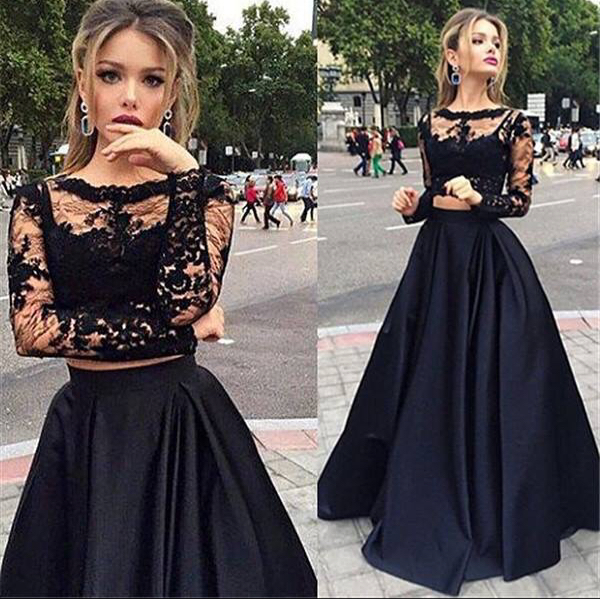 3733227e05 2 Pieces Prom Dresses with Black Lace Bodice and Taffeta Skirt,Long ...