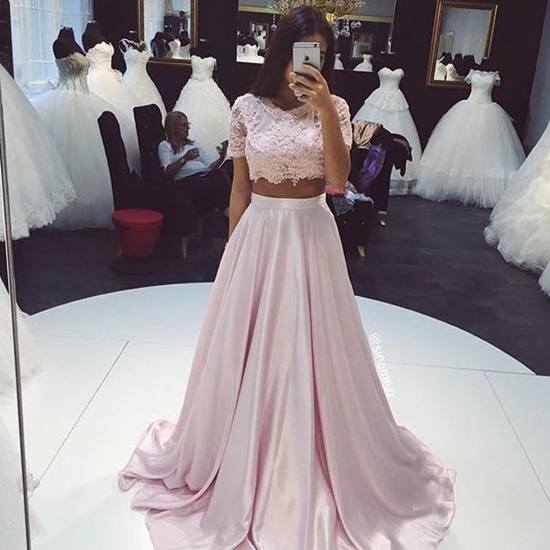 Light Pink Prom Dresstwo Pieces Lace Long Prom Dressesevening