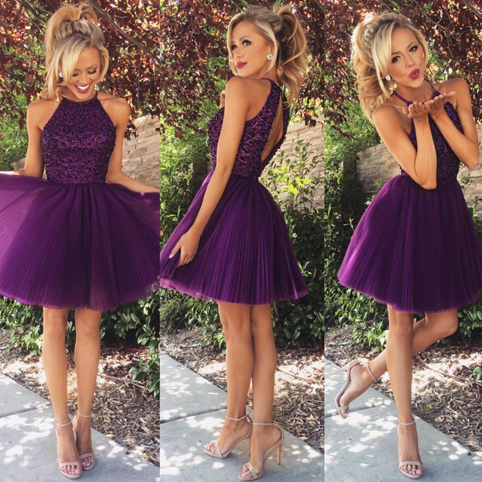 Purple Homecoming Dresses Backless Homecoming Dresses Junior