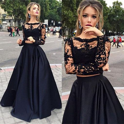 Black Two Pieces Long Sleeve Prom Dress A Line Lace Two Pieces Long Prom Dress Grad Dresses