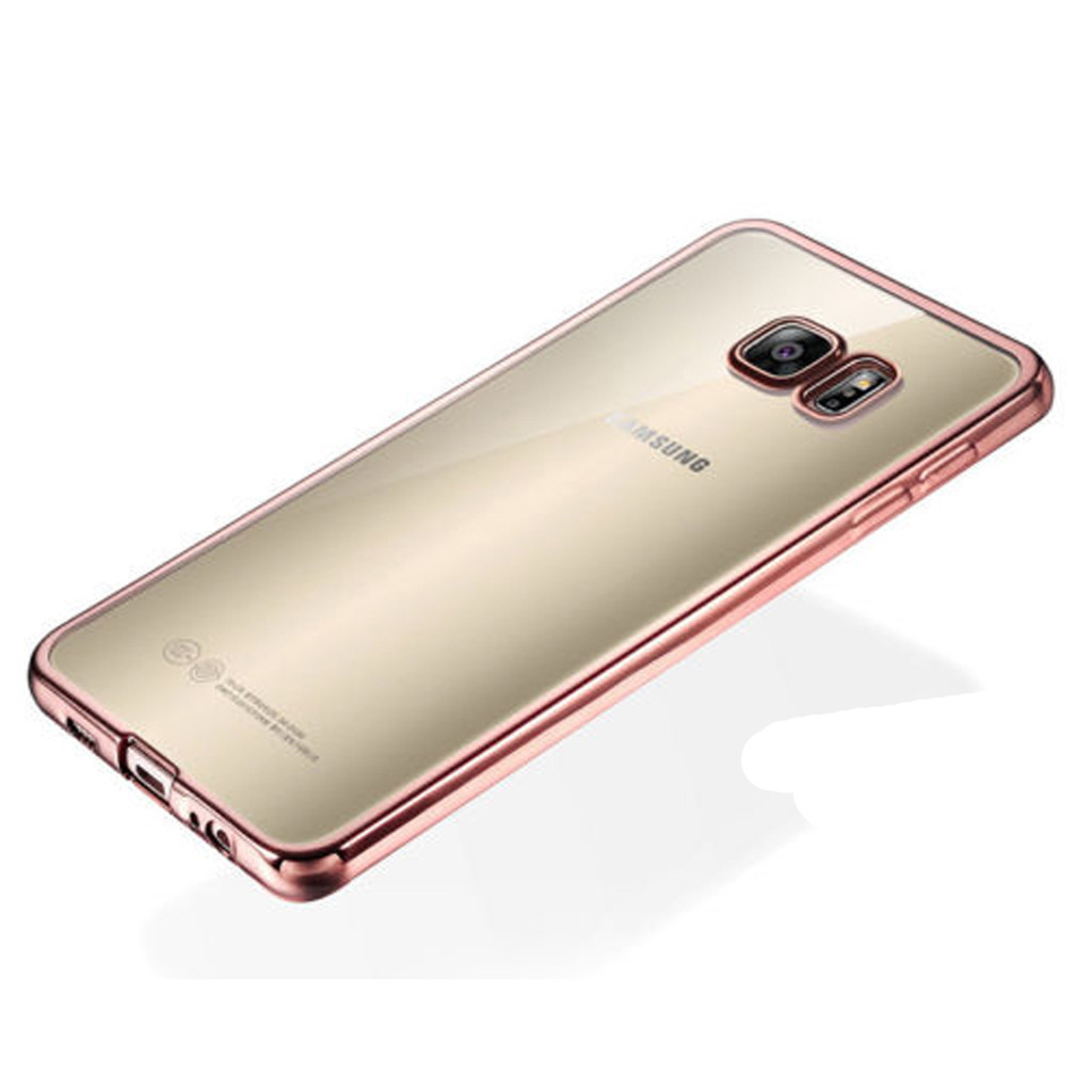 Galaxy S7 Edge Glossy Clear Back In Rose Gold Or Gold Frame Soft