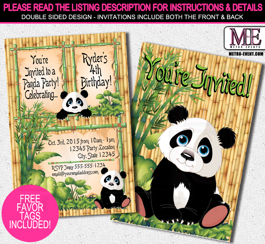 Panda Birthday Invitations From Metro Events Party Supplies
