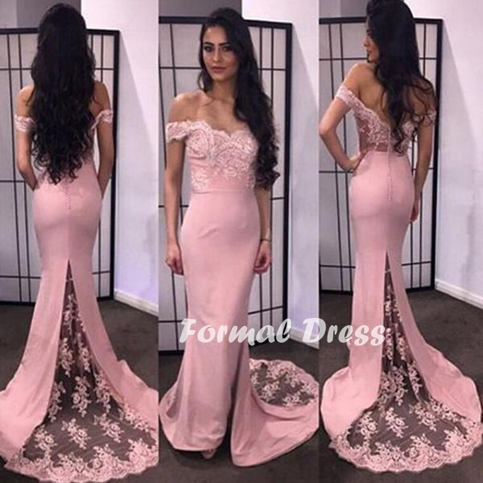 Pink prom dress,mermaid lace off shoulder long prom dresses,formal ...