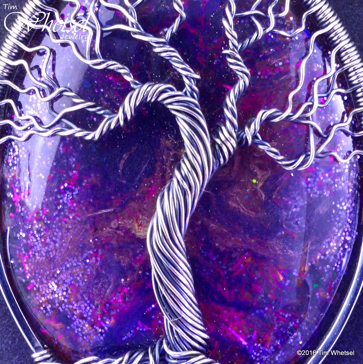 Silver Wire Wrapped Tree Of Life Pendant With Purple Glow