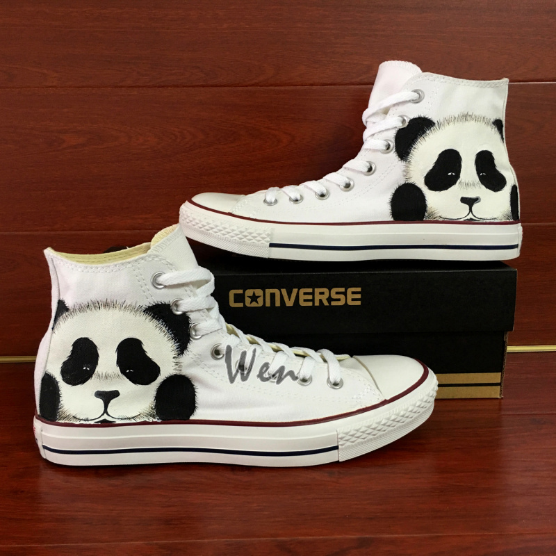 Panda Original Design White Converse All Star Custom Design Hand ... 9d1b11fc2145